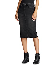 Curvy-Sculpted Denim Skirt