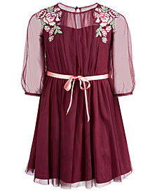 Sequin Hearts Big Girls Embroidered Mesh Overlay Dress