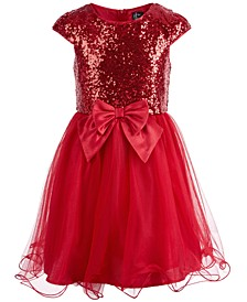 Big Girls Sequined Bow-Front Mesh Dress