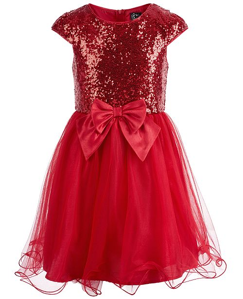 Pink & Violet Big Girls Sequined Bow-Front Mesh Dress
