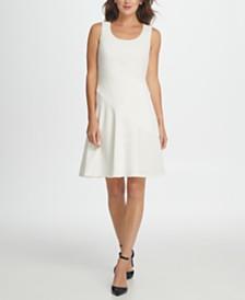 DKNY Scuba Mesh Combo Fit  Flare Dress