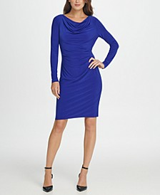 Long Sleeve Cowl Neck Pleated Sheath Dress