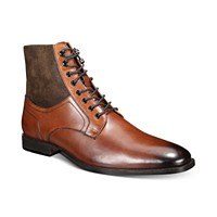 Deals on Bar III Mens Jerry Leather & Suede Lace-Up Boots