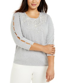 Alfred Dunner Plus Size Sapphire Skies Embellished Cutout-Sleeve Sweater