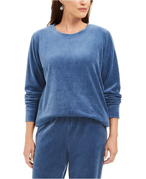 Karen Scott Sport Velour Sweatshirt, Created For Macy's