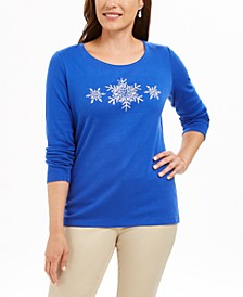 Petite Cotton Snowflake Graphic Top, Created For Macy's