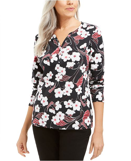 Karen Scott Glitter Vines Henley Top, Created For Macy's