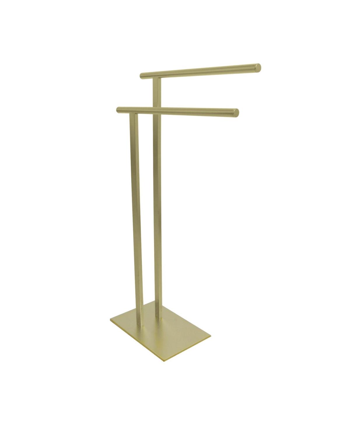 Kingston Brass Double L Shape Pedestal Towel Holder in Satin Brass Bedding