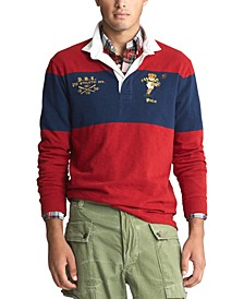 Men's Long Sleeve Rugby Bear Classic Fit Polo Shirt