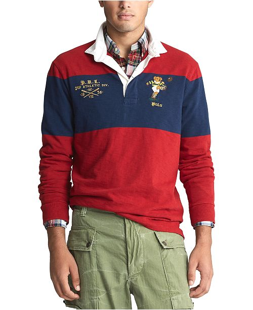 Polo Ralph Lauren Men's Long Sleeve Rugby Bear Classic Fit Polo Shirt