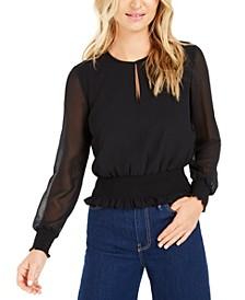 Becca Tilley x Sheer-Sleeve Smocked-Waist Top, Created for Macy's