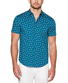 Men's Mini Scissor Print Short Sleeve Shirt