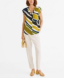 Chest-Pocket Striped Blouse