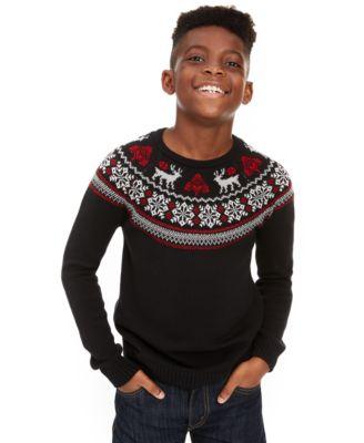 Big Boys Fair Isle Family Sweater, Created For Macy's