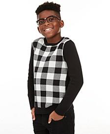 Big Boys Buffalo Check Family Sweater, Created for Macy's