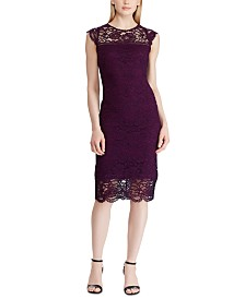Lauren Ralph Lauren Lace Cap-Sleeve Dress