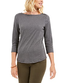 Petite Metallic Striped Top, Created For Macy's
