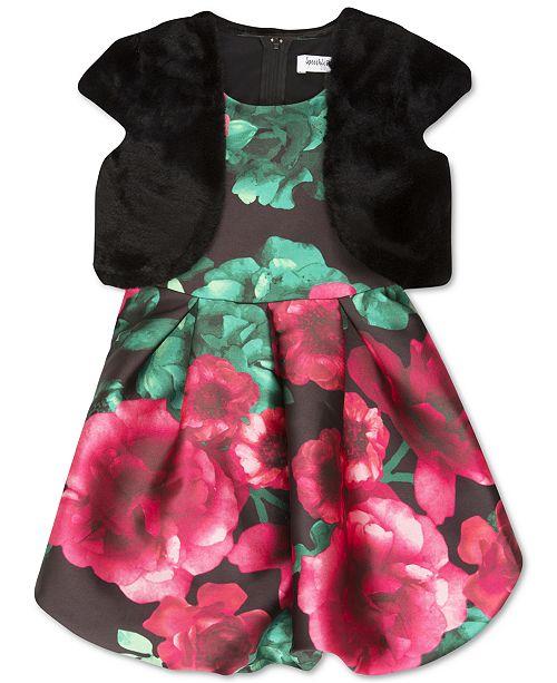 Big Girls Plus Size Faux-Fur Vest & Bubble Dress
