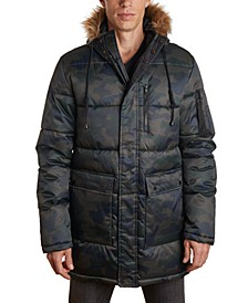 Men's Heavy Parka with Faux Fur Hood Trim and Cargo Pockets