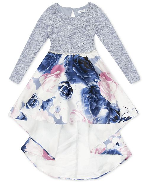 Speechless Big Girls Lace & Floral-Print High-Low Dress