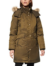 Fur-Trim Hooded Down Parka Coat