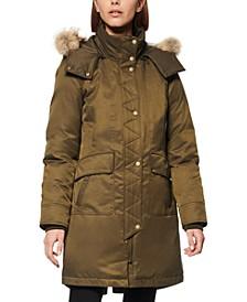 Fur-Trim Hooded Down Parka Coat