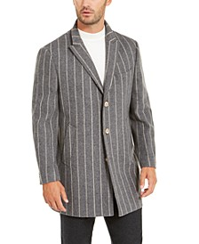 Orange Men's Slim-Fit Gray Chalk Stripe Overcoat