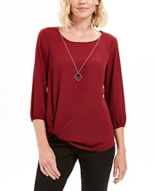 Twist-Hem Necklace Blouse, Created For Macy's