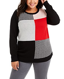 Plus Size Patchwork-Print Sweater, Created For Macy's