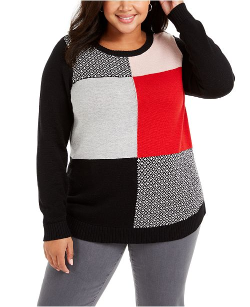 Charter Club Plus Size Patchwork-Print Sweater, Created For Macy's