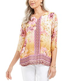 Petite Floral Print Top, Created For Macy's