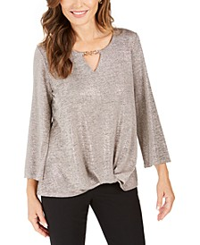 Twist-Hem Keyhole Top, Created For Macy's