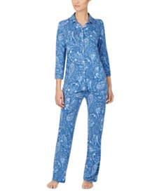 Lauren Ralph Lauren Three-Quarter-Sleeve Pajama Set