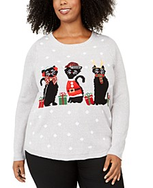 Plus Size Holiday-Cats Graphic Sweatshirt, Created For Macy's