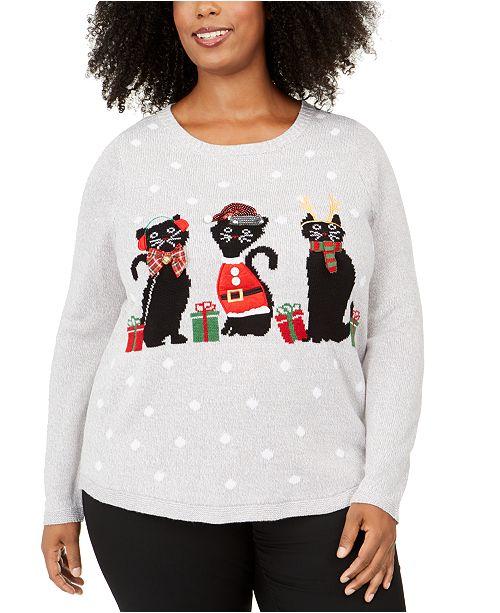 Karen Scott Plus Size Holiday-Cats Graphic Sweatshirt, Created For Macy's