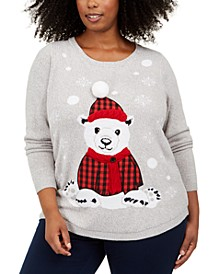 Plus Size Polar-Bear Graphic Sweater, Created For Macy's