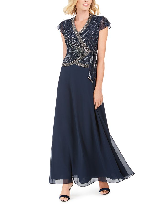 J Kara - Embellished Side-Tie Gown