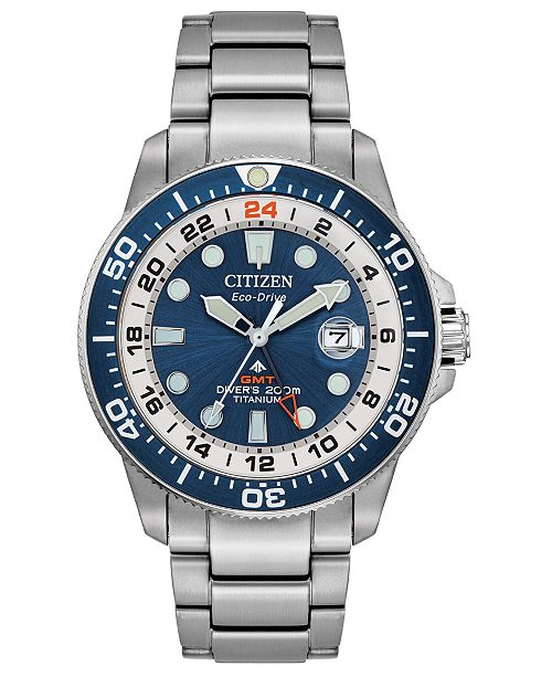Citizen LIMITED EDITION Eco-Drive Promaster Marine Stainless Steel & Titanium Bracelet Watch 43mm, Created for Macy's