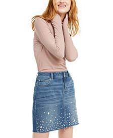 I.N.C. Shimmer Turtleneck & Embellished Denim Skirt, Created for Macy's