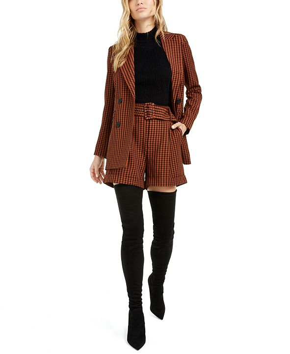 Bar III Becca Tilley x Gingham Blazer, Turtleneck Tank and Shorts, Created for Macy's