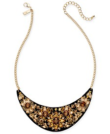 "INC Gold-Tone Faux Leather & Stone Statement Necklace, 17"" + 3"" extender, Created For Macy's"