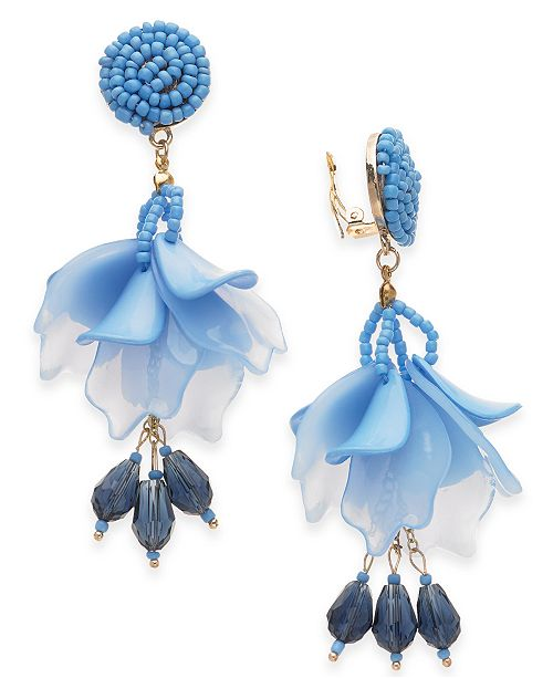 INC International Concepts INC Gold-Tone Bead & Resin Petal Drop Clip-On Earrings, Created For Macy's