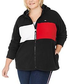 Plus Size Colorblocked Hooded Jacket