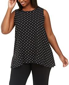 Plus Size Polka Dot Sleeveless Blouse