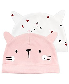Baby Girl 2-Pack Kitty Print Caps With Cat Ears
