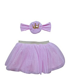 Baby Girl Tutu and Headband Set with Delicate Little Gold Dots and Headband