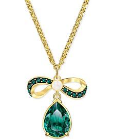 "Swarovski Gold-Tone Crystal & Imitation Pearl Bow Pendant Necklace, 14-7/8"" + 2"" extender"