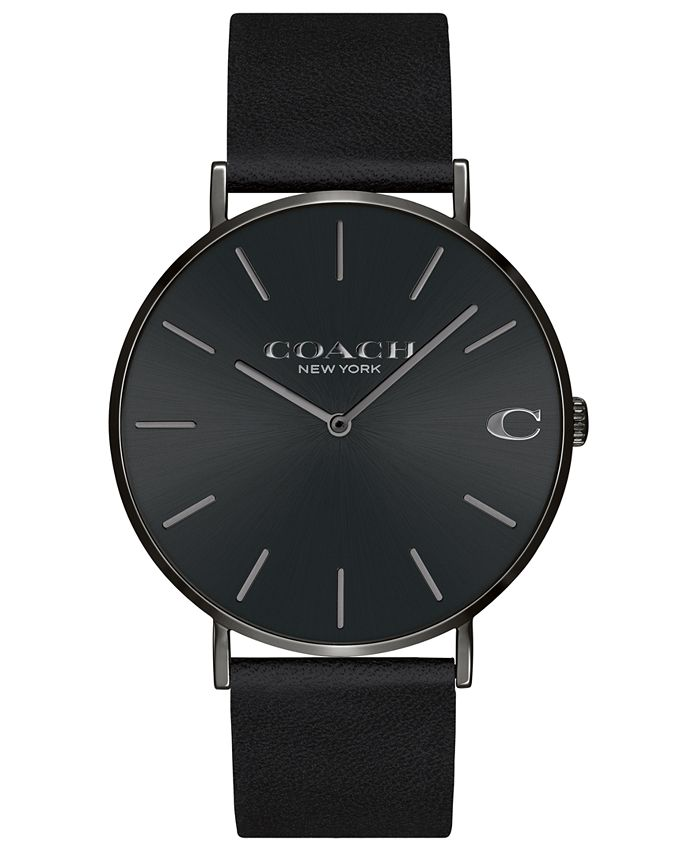 COACH - Men's Charles Black Leather Strap Watch 41mm