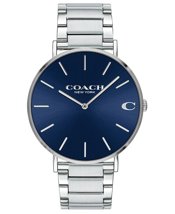 COACH Men's Charles Stainless Steel Bracelet Watch 41mm