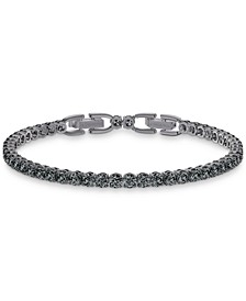 Unisex Hematite-Tone Crystal Tennis Bracelet